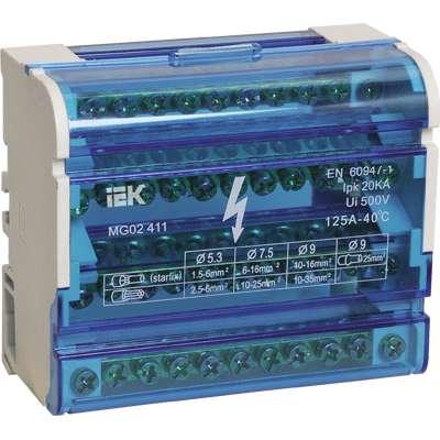 Шина на DIN-рейку в корпусе (кросс-модуль) ШНК 4х11 3L+PEN ИЭК YND10-4-11-125