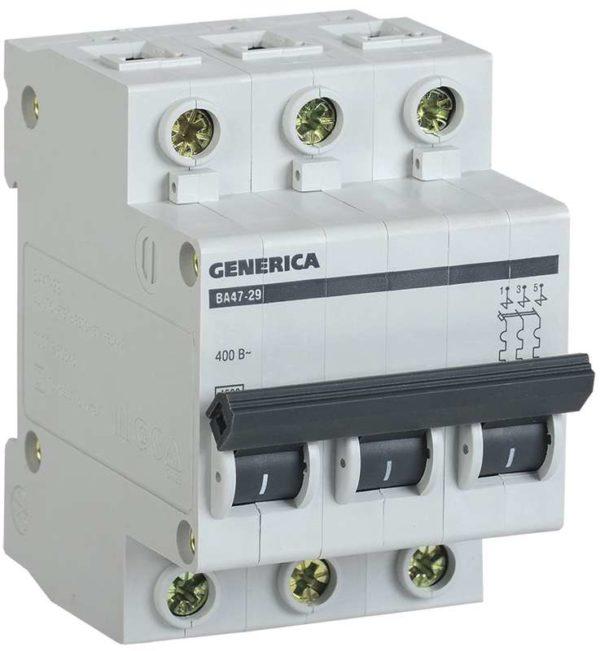 Выключатель автоматический модульный 3п С ВА47-29 50А 4.5кА GENERICA ИЭК MVA25-3-050-C
