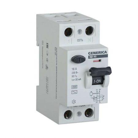 Выключатель дифференциального тока (УЗО) 2п 16А 30мА тип AC ВД1-63 GENERICA ИЭК MDV15-2-016-030