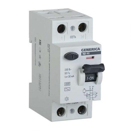Выключатель дифференциального тока (УЗО) 2п 25А 30мА тип AC ВД1-63 GENERICA ИЭК MDV15-2-025-030