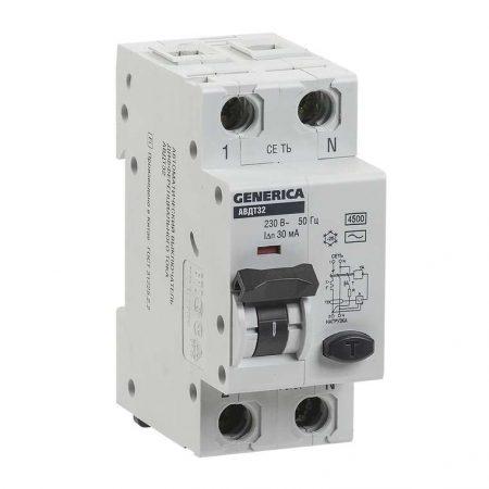 Выключатель автоматический диф. тока C25 30мА АВДТ 32 GENERICA ИЭК MAD25-5-025-C-30