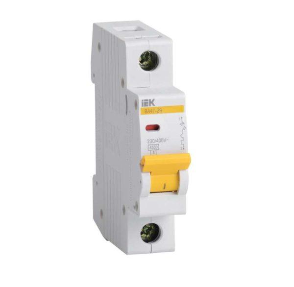 Выключатель автоматический модульный 1п B 10А 4.5кА ВА47-29 ИЭК MVA20-1-010-B