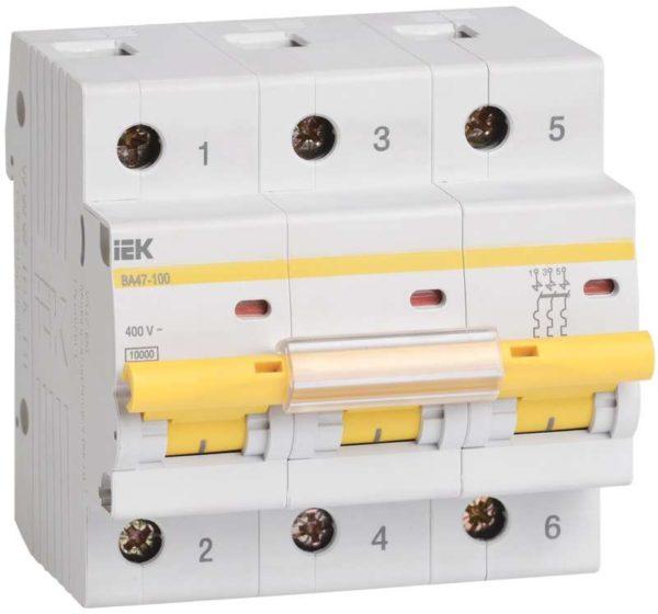 Выключатель автоматический модульный 3п C 40А 10кА ВА47-100 ИЭК MVA40-3-040-C