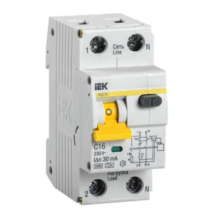 Выключатель автоматический дифференциального тока 2п (1P+N) C 16А 30мА тип A 6кА АВДТ-32 ИЭК MAD22-5-016-C-30