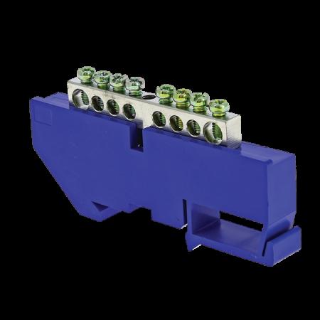 Шина нулевая N 6х9 8 отвер. никель син. изолятор на DIN-рейку PROxima EKF sn1-63-08-d