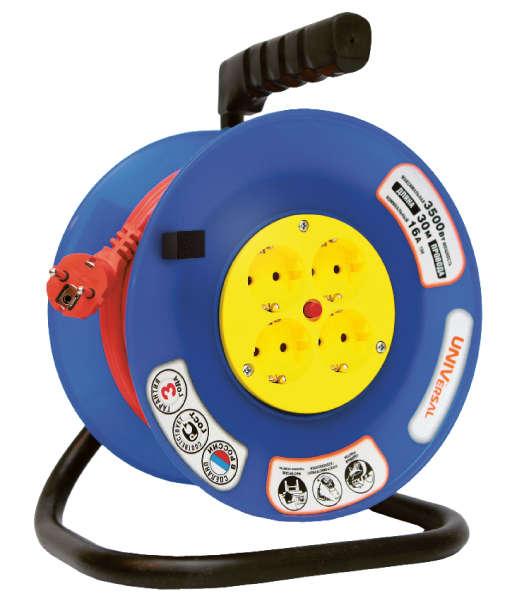 Удлинитель на катушке 4х30м с заземл. 10А IP44 ВЕМ-250 термо ПВС 3х0.75 розетки с защ. шторками UNIVersal 1680