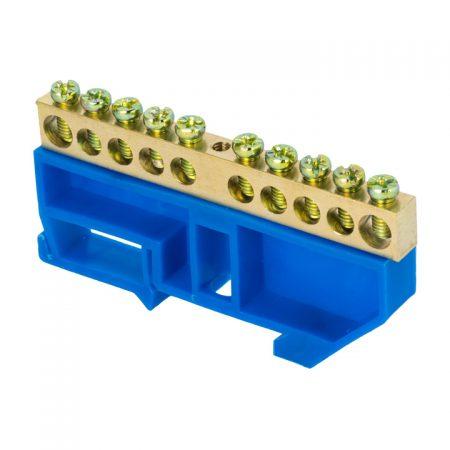 Шина нулевая N 6х9 10 отвер. латунь син. изолятор на DIN-рейку PROxima EKF sn0-63-10-d