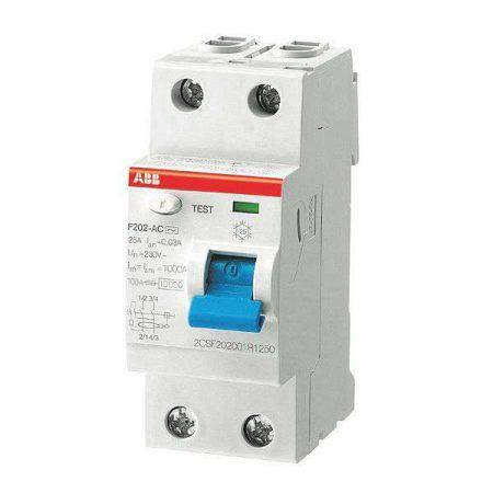 Выключатель дифференциального тока (УЗО) 2п 16А 10мА тип AC F202 ABB 2CSF202001R0160