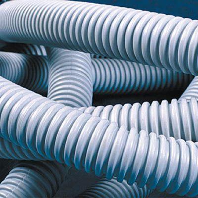Труба гофрированная ПВХ d25мм тяжелая с протяж. сер. (уп.50м) DKC 91525
