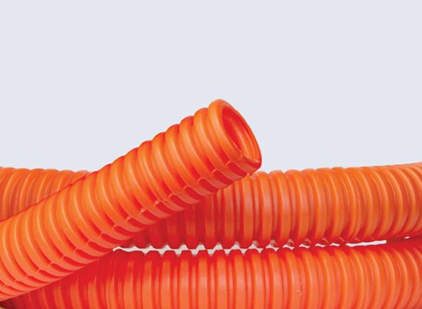Труба гофрированная ПНД d20мм тяжелая с протяж. оранж. (уп.100м) DKC 71520